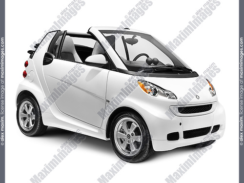2012 Smart ForTwo Passion Cabriolet small convertible city car isolated on white background with clipping path