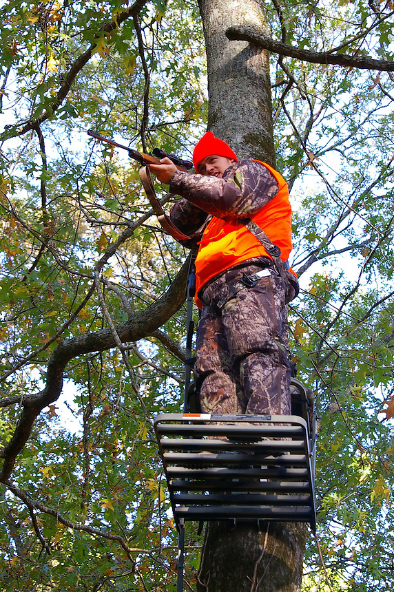 Rifle deer hunter in treestand, White River National Wildlife Refuge, Arkansas