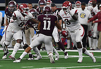NWA Democrat-Gazette/J.T. WAMPLER Arkansas' De'Jon Harris (8) and McTelvin Agim sack Texas A&M's quarterback Kellen Mond Saturday Sept. 29, 2018 at AT&T Stadium in Arlington. The Aggies beat the Razorbacks 24-17.