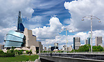 Panoramic city scenery of Canadian Museum for Human Rights and downtown skyline under beautiful cloudy sky on a sunny summer day in Winnipeg, Manitoba, Canada 2017.