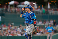 Amarillo Sod Poodles catcher Luis Torrens (21) during a Texas League game against the Frisco RoughRiders on July 13, 2019 at Dr Pepper Ballpark in Frisco, Texas.  (Mike Augustin/Four Seam Images)
