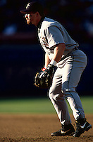 Jeff Bagwell of the Houston Astros participates in a Major League Baseball game at Dodger Stadium during the 1998 season in Los Angeles, California. (Larry Goren/Four Seam Images)