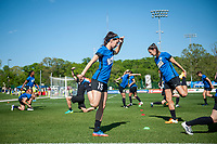 Kansas City, MO - Sunday May 07, 2017: Erika Tymrak, Yael Averbuch prior to a regular season National Women's Soccer League (NWSL) match between FC Kansas City and the Orlando Pride at Children's Mercy Victory Field.