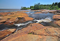 Rocky shoreline along the Gulf of St. Lawrence<br /> Longue-Rive<br /> Quebec<br /> Canada