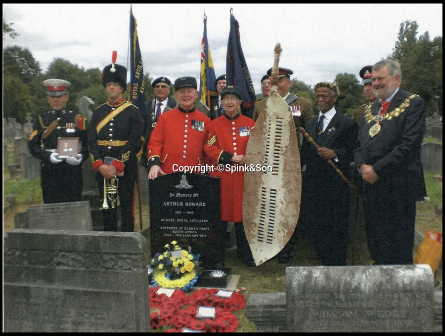 BNPS.co.uk (01202 558833)<br /> Pic:   Spink&Son/BNPS<br /> <br /> The ceremony held for Arthur Howard at Brockley cemetery in 2012.<br /> <br /> The bravery medals awarded to one of the heroes of Rorke's Drift have emerged for sale for £50,000.<br /> <br /> Gunner Arthur Howard was part of the 150-strong British garrison which defied all odds to successfully defend the Rorke's Drift mission station from 4,000 marauding Zulu warriors in 1879.<br /> <br /> For 12 hours the British repelled the spear-carrying tribesmen with accurate shooting and brutal hand-to-hand combat. The Zulus retreated with 350 of their number killed compared to 17 British.<br /> <br /> The rearguard was immortalised in the epic 1964 war film Zulu, starring Stanley Baker and a young Michael Caine.
