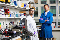 Postdoctoral Associate Jasdave Chahal (left) and Research Scientist Omar F. Khan are seen here in the Langer Lab at the David H. Koch Institute for Integrative Cancer Research at MIT in Cambridge, Massachusetts, USA, on Tues., Nov. 15, 2016. The two worked together to create a programmable RNA vaccine.
