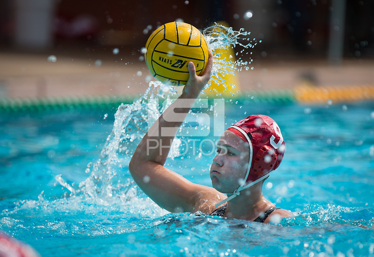 STANFORD, CA - March 23, 2019: Aria Fischer at Avery Aquatic Center. The #2 Stanford Cardinal took down the #18 Harvard Crimson 20-7.
