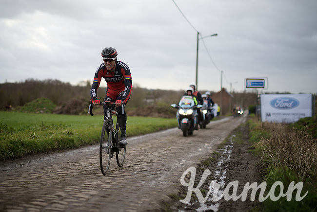 Philippe Gilbert (BEL/BMC) having a rough time over the cobbles, still affected by his severe crash in the Omloop Het Nieuwsblad a few days earlier. He would abandon the race 2 kilometers after this point.<br /> <br /> In the end only 28 out 188 starters would actually finish this race...<br /> <br /> GP Samyn 2016