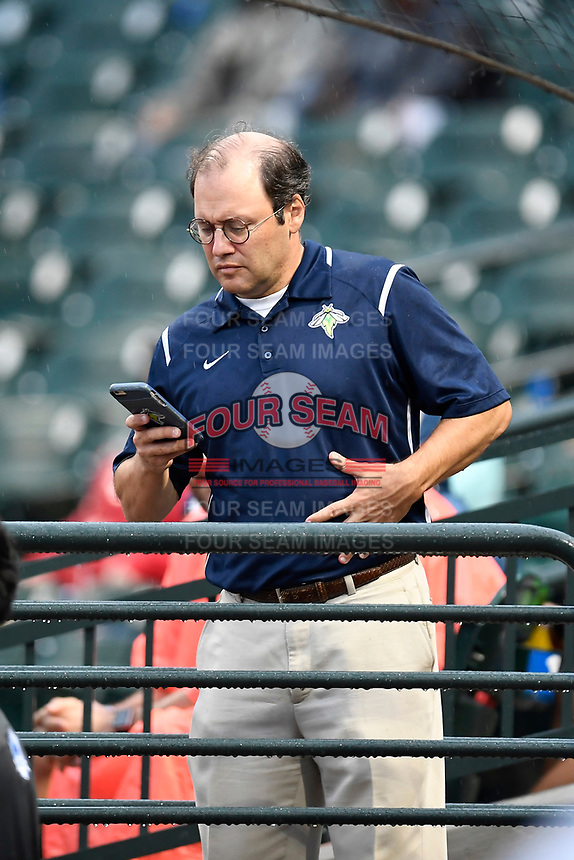 Columbia Fireflies owner Jason Freier watches the action at the South Atlantic League All-Star Game on Tuesday, June 20, 2017, at Spirit Communications Park in Columbia, South Carolina. The game was suspended due to rain after seven innings tied, 3-3. (Tom Priddy/Four Seam Images)