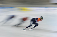 1st February 2019, Dresden, Saxony, Germany; World Short Track Speed Skating; 1000 meters men in the EnergieVerbund Arena. Dylan Hoogerwerf (r) from the Netherlands runs in a bend.