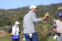 Dustin Johnson (USA) sinks his putt on the 6th green at Pebble Beach Golf Links during Saturday's Round 3 of the 2017 AT&amp;T Pebble Beach Pro-Am held over 3 courses, Pebble Beach, Spyglass Hill and Monterey Penninsula Country Club, Monterey, California, USA. 11th February 2017.<br /> Picture: Eoin Clarke | Golffile<br /> <br /> <br /> All photos usage must carry mandatory copyright credit (&copy; Golffile | Eoin Clarke)