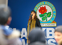 A singer performs in front of Blackburn Rovers fans outside Ewood Park, before the match <br /> <br /> Photographer Alex Dodd/CameraSport<br /> <br /> The EFL Sky Bet Championship - Blackburn Rovers v Queens Park Rangers - Saturday 3rd November 2018 - Ewood Park - Blackburn<br /> <br /> World Copyright © 2018 CameraSport. All rights reserved. 43 Linden Ave. Countesthorpe. Leicester. England. LE8 5PG - Tel: +44 (0) 116 277 4147 - admin@camerasport.com - www.camerasport.com