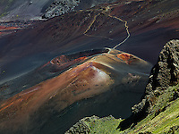 A close up view of this lava cinder cone in the crater of HALEAKALA NATIONAL PARK on Maui in Hawaii details the historical formation of its lava flows