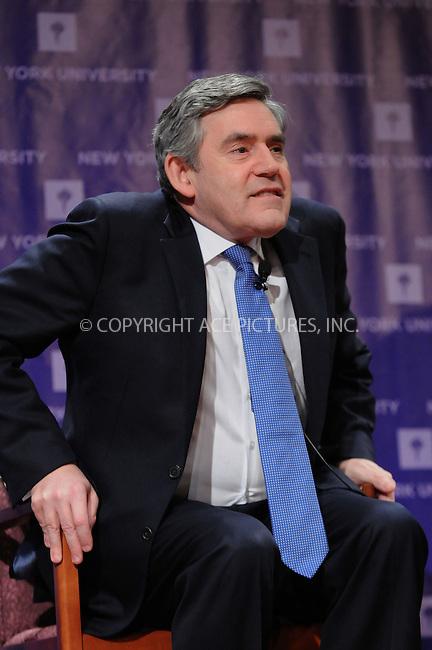 WWW.ACEPIXS.COM..March 25 2009, New York City..British Prime Minister Gordon Brown speaks on global issues at the New York University on March 25, 2009 in New York City..Please byline: Kristin Callahan - ACEPIXS.COM...*** ***...Ace Pictures, Inc.tel: (212) 243 8787.e-mail: info@acepixs.com.web: http://www.acepixs.com..© 2009 Kristin Callahan/ACE Pictures.