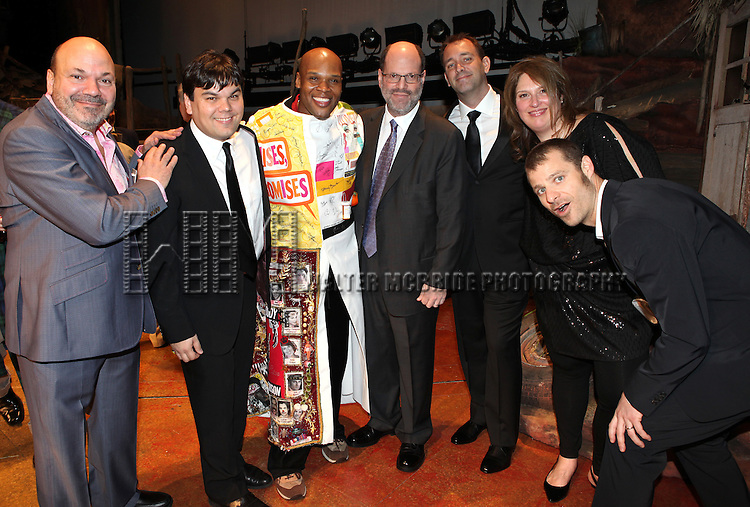 Michael James Scott (Recipient) with Casey Nicholaw, Robert Lopez, Scott Rudin, Trey Parker &amp; Matt Stone<br /> attending the Broadway Opening Night Gypsy Robe for 'The Book Of Mormon' and the Gypsy Robe recipient Michael James Scott at The Eugene O'Neill Theatre in New York City.