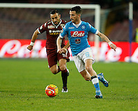 Napoli's Mirko Valdifiori controls the ball during the  italian serie a soccer match,between SSC Napoli and Torino      at  the San  Paolo   stadium in Naples  Italy , January 07, 2016