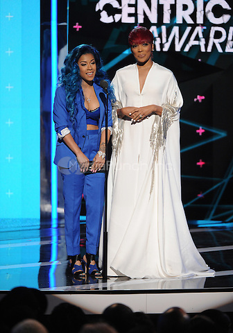 LOS ANGELES, CA - JUNE 28: Keyshia Cole, left, and Monica present the centric award at the BET Awards at the Microsoft Theater on Sunday, June 28, 2015 in Los Angeles, California. Credit: PGFM/MediaPunch
