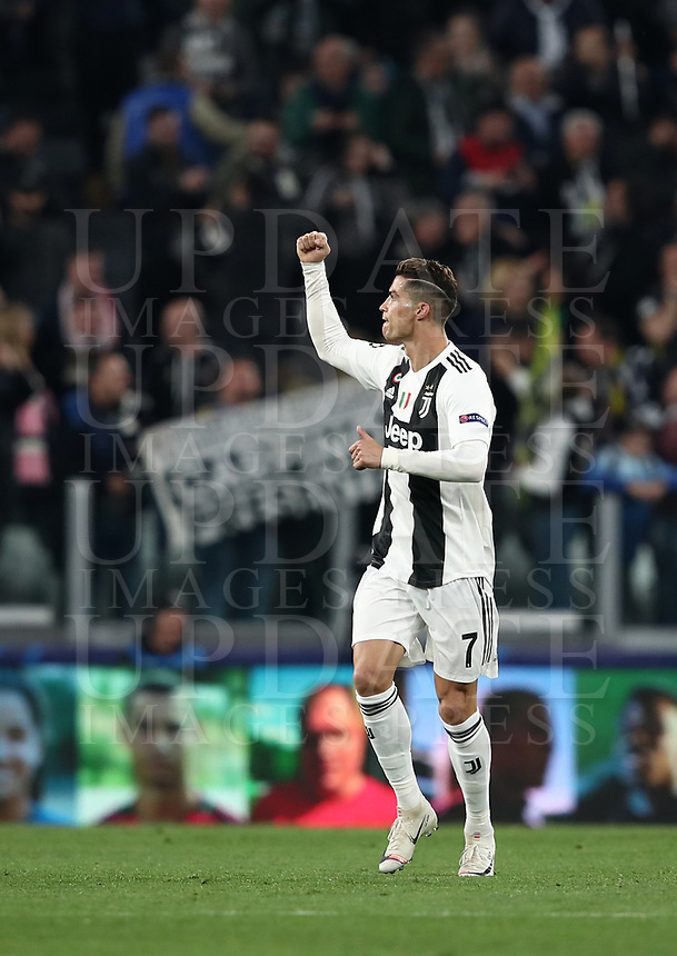 Football Soccer: UEFA Champions UEFA Champions League quarter final second leg Juventus - Ajax, Allianz Stadium, Turin, Italy, March 12, 2019. <br /> Juventus' Cristiano Ronaldo celebrates after scoring during the Uefa Champions League football match between Juventus and Ajax  at the Allianz Stadium, on March 12, 2019.<br /> UPDATE IMAGES PRESS/Isabella Bonotto