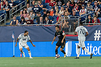 FOXBOROUGH, MA - AUGUST 4: Carlos Vela #10 of Los Angeles FC looks to pass during a game between Los Angeles FC and New England Revolution at Gillette Stadium on August 3, 2019 in Foxborough, Massachusetts.