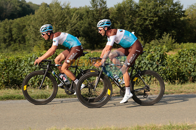Benoît Cosnefroy and Mikaël Cherel (FRA) AG2R La Mondiale in action during the Criterium Castillon La Bataille 2019 the first criterium after the Tour de France held around Ville de Castillon-la-Bataille, France. 6th August 2019.<br /> Picture: Colin Flockton | Cyclefile<br /> All photos usage must carry mandatory copyright credit (© Cyclefile | Colin Flockton)