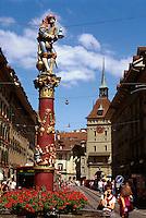 Schweiz, Pfeiferbrunnen in der Spitalgasse in Bern, Unesco-Weltkulturerbe