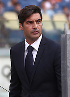 Football, Serie A: AS Roma - Sassuolo, Olympic stadium, Rome, September 15, 2019. <br /> AS Roma' s coach Paulo Fonseca prior to the Italian Serie A football match between Roma and Sassuolo at Olympic stadium in Rome, on September 15, 2019.<br /> UPDATE IMAGES PRESS/Isabella Bonotto