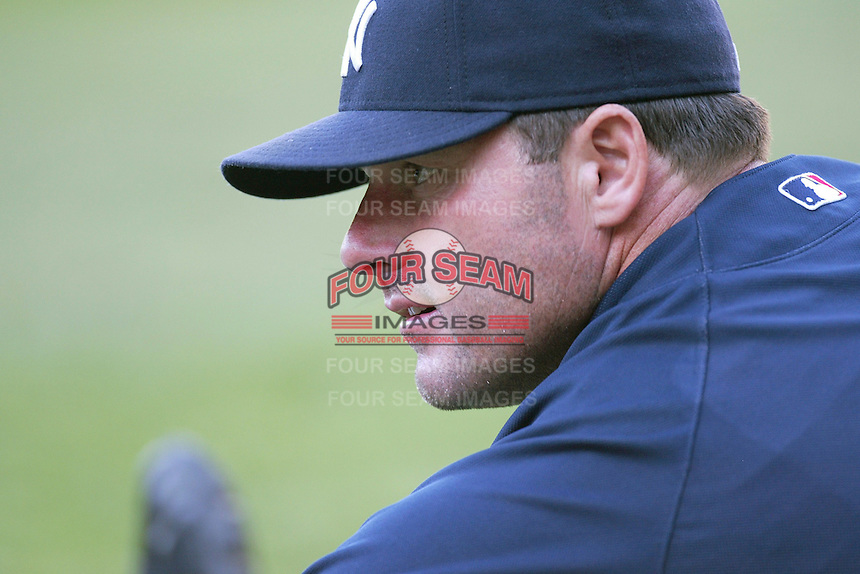 Roger Clemens of the New York Yankees during batting practice before a 2007 MLB season game  against the Los Angeles Angels at Angel Stadium in Anaheim, California. (Larry Goren/Four Seam Images)
