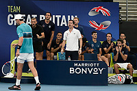 9th January 2020; Sydney Olympic Park Tennis Centre, Sydney, New South Wales, Australia; ATP Cup Australia, Sydney, Day 7; Great Britain versus Australia; Cameron Norrie of Great Britain versus Nick Kyrgios of Australia; Tin Henman and his team cheer on Cameron Norrie of Great Britain - Editorial Use