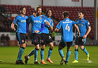 Fleetwood Town celebrate their opening goal scored by Cian Bolger<br /> <br /> Photographer Dave Howarth/CameraSport<br /> <br /> The EFL Sky Bet League One - Walsall v Fleetwood Town - Tuesday 14th March 2017 - Banks's Stadium - Walsall<br /> <br /> World Copyright &copy; 2017 CameraSport. All rights reserved. 43 Linden Ave. Countesthorpe. Leicester. England. LE8 5PG - Tel: +44 (0) 116 277 4147 - admin@camerasport.com - www.camerasport.com