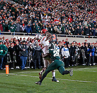 Ohio State Buckeyes running back Dontre Wilson (2) makes a touchdown catch against Michigan State Spartans safety RJ Williamson (26) during the 4th quarter at Spartan Stadium in East Lansing, Michigan on November 8, 2014.  (Dispatch photo by Kyle Robertson)