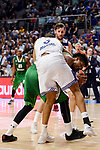 Real Madrid's Anthony Randolph and Darussafaka Dogus's Will Clyburn during quarter final of Turkish Airlines Euroleague match between Real Madrid and Darussafaka Dogus at Wizink Center in Madrid, April 20, 2017. Spain.<br /> (ALTERPHOTOS/BorjaB.Hojas)