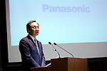 Kazuhiro Tsuga, President of Panasonic Corporation, attends a press conference to announce the company's business policy for the coming fiscal year at its head office in downtown Tokyo on March 26, 2015. Panasonic announced it aims to boost its target operating profit from 350 billion yen, in the year ending this March 31, to 430 billion yen in the coming fiscal year. (Photo by Rodrigo Reyes Marin/AFLO)