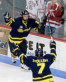 Stephane Da Costa (Merrimack - 24) celebrates his goal which tied the game at 2 at the 32 second point of the second period. - The Boston University Terriers defeated the Merrimack College Warriors 6-4 (EN) on Saturday, January 16, 2010, at Agganis Arena in Boston, Massachusetts.
