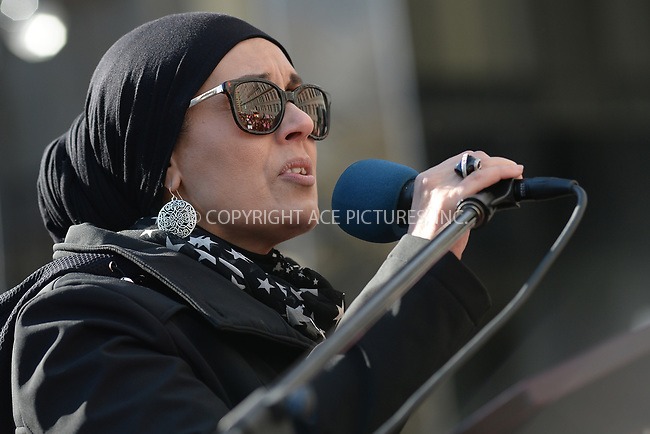 www.acepixs.com<br /> January 20, 2018  New York City<br /> <br /> Dr. Debbie Almontaser on stage at the Women's March on January 20, 2018 in New York City.<br /> <br /> Credit: Kristin Callahan/ACE Pictures<br /> <br /> Tel: 646 769 0430<br /> Email: info@acepixs.com