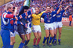 Chris Woods and Terry Butcher celebrate winning the 1988-89 scottish premier league title at Ibrox