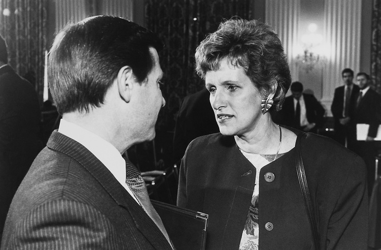 Rep. Tom DeLay, R-Tex., and Rep. Lynn Morley Martin, R-Ill., prior to a conference chair vote on Dec. 18, 1988. (Photo by Andrea Mohin/CQ Roll Call)