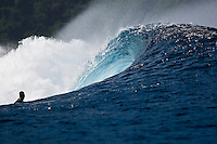 An empty wave breaks at a reef pass near Teahupoo, Tahiti, (Friday May 15 2009.) Photo: joliphotos.com