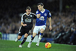 Seamus Coleman of Everton is challenged by Marc Albrighton of Leicester City<br /> - Barclays Premier League - Everton vs Leicester City - Goodison Park - Liverpool - England - 19th December 2015 - Pic Robin Parker/Sportimage