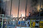 05.08.2019, Carl-Benz-Stadion, Mannheim, GER, 3. Liga, SV Waldhof Mannheim vs. TSV 1860 Muenchen, <br /> <br /> DFL REGULATIONS PROHIBIT ANY USE OF PHOTOGRAPHS AS IMAGE SEQUENCES AND/OR QUASI-VIDEO.<br /> <br /> im Bild: Fans des TSV 1860 Muenchen zuenden Feuerwerkskoerper im Block<br /> <br /> Foto © nordphoto / Fabisch