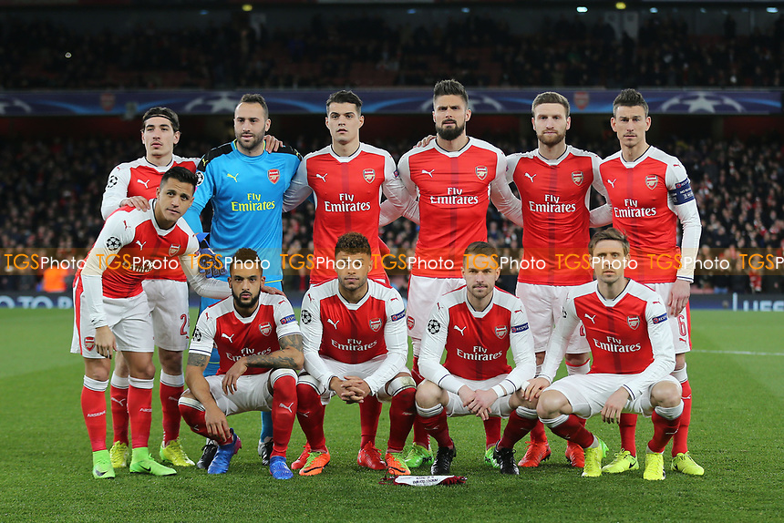 Arsenal team photo during Arsenal vs FC Bayern Munich, UEFA Champions League Football at the Emirates Stadium on 7th March 2017
