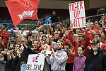 GRAND RAPIDS, MI - NOVEMBER 18: Wittenberg University fans cheer during the Division III Women's Volleyball Championship held at Van Noord Arena on November 18, 2017 in Grand Rapids, Michigan. Claremont-M-S defeated Wittenberg 3-0 to win the National Championship. (Photo by Doug Stroud/NCAA Photos via Getty Images)