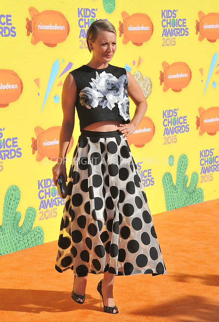 WWW.ACEPIXS.COM<br /> <br /> March 28 2015, LA<br /> <br /> Kaley Cuoco- Sweeting arriving at Nickelodeon's 28th Annual Kids' Choice Awards at The Forum on March 28, 2015 in Inglewood, California. <br /> <br /> <br /> By Line: Peter West/ACE Pictures<br /> <br /> <br /> ACE Pictures, Inc.<br /> tel: 646 769 0430<br /> Email: info@acepixs.com<br /> www.acepixs.com