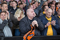 Newport fans after their side's second goal during the Sky Bet League 2 match between Newport County and Notts County at Rodney Parade, Newport, Wales on 6 May 2017. Photo by Mark  Hawkins / PRiME Media Images.