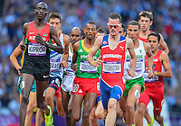 August 05, 2012: Henrik Ingebrigtsen of NOR leads group of runners during men's 1500m semifinal event at the Olympic Stadium on day nine of 2012 Olympic Games in London, United Kingdom.