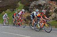 PRO team cyclists near the top of the challenging iconic and notorious 6km 10% stretch of road namely The Tumble during the Wales Velothon 2016 140km route cycling race. 2nd from the rear is race winner Tom Stewart of the Madison Genesis cycle team.  <br />