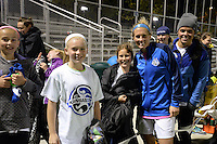Kansas City, MO - Friday May 13, 2016: FC Kansas City midfielder Jen Buczkowski (6) talks with fans after regular season National Women's Soccer League (NWSL) match against the Chicago Red Stars at Swope Soccer Village. The match ended 0-0.
