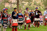 Zuni Pueblo dancers preforming traditional dances at Bandelier National Monument, New Mexic