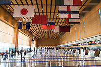 International flags hang above the check-in area in Logan Airport Terminal E, the airport's international terminal, in Boston, Massachusetts, USA. An Executive Order signed by President Donald Trump bans travel for many from seven Muslim-majority countries.