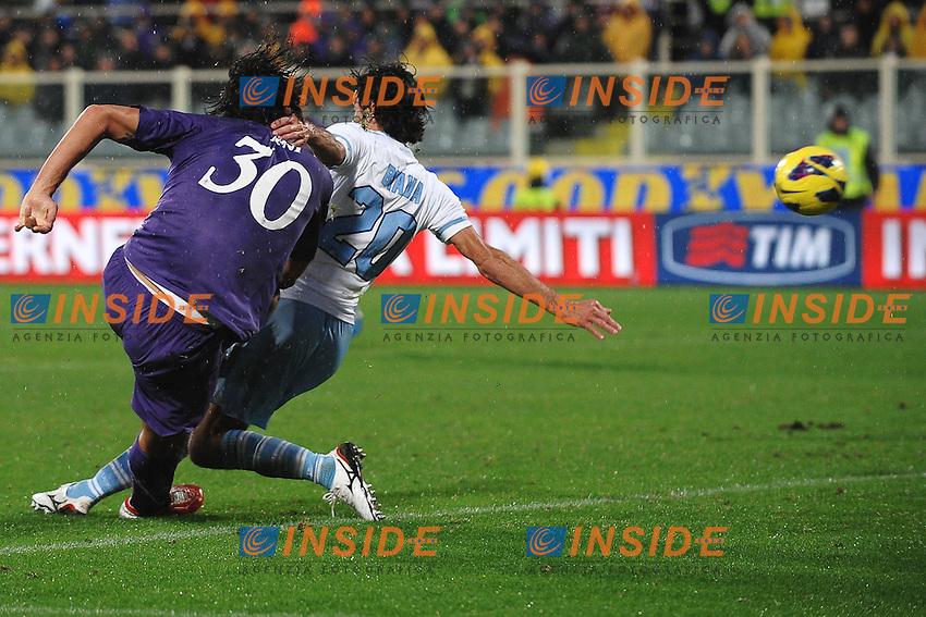 """Gol di Luca Toni Fiorentina 2-0.Goal celebration.Firenze 28/10/2012 Stadio """"Artemio Franchi"""".Football Calcio 2012/2013 Serie A.Fiorentina Vs Lazio.Foto Andrea Staccioli Insidefoto"""