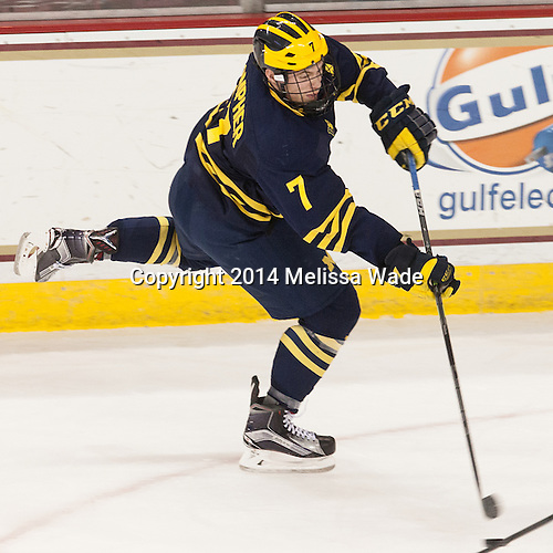 JT Compher (Michigan - 7) - The Boston College Eagles defeated the visiting University of Michigan Wolverines 5-1 (EN) on Saturday, December 13, 2014, at Kelley Rink in Conte Forum in Chestnut Hill, Massachusetts.